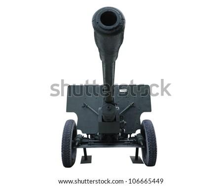 Old anti tank cannon gun - stock photo