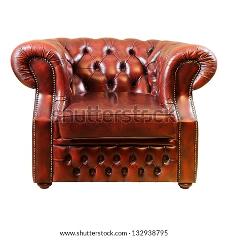 Old Antique Armchair Over The White Background - stock photo