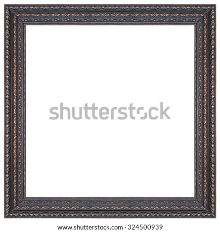 Old antique black and gold square frame isolated decorative carved wood stand antique black and gold square frame isolated on white background - stock photo