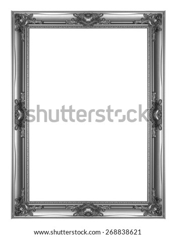 Old Antique Black frame Isolated Decorative Carved Wood Stand Antique Black Frame Isolated On White Background - stock photo