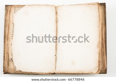 Old antique book from 1739 with leather cover isolated on white - stock photo