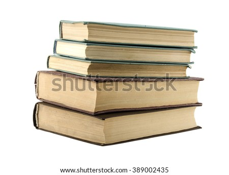 old antique books isolated on white background - stock photo