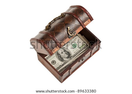 Old antique brown wood treasure chest or box with dollar currency white isolated - stock photo