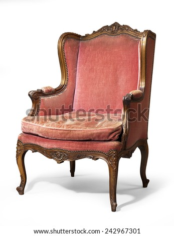 old antique carved red upholstered wing arm chair