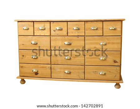 old antique chest of drawers isolated on white background - stock photo