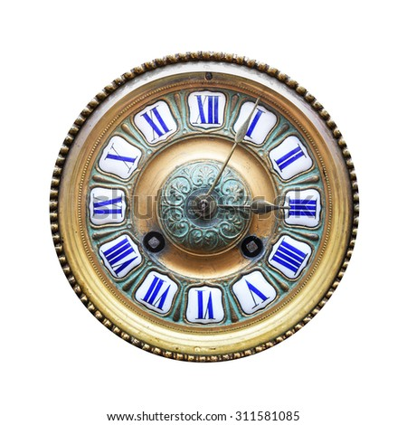 Old Antique Clock Isolated On White Background. - stock photo