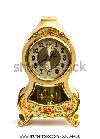 Old antique clock on white background. - stock photo