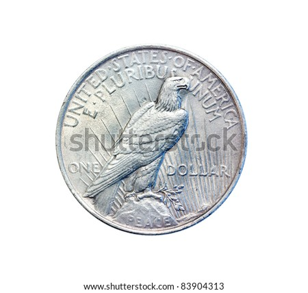 Old antique coin. One U.S. dollar in 1923 - stock photo