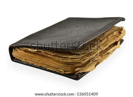 Old antique diary with yellowed pages isolated on white background - stock photo