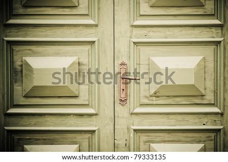 old antique door - stock photo