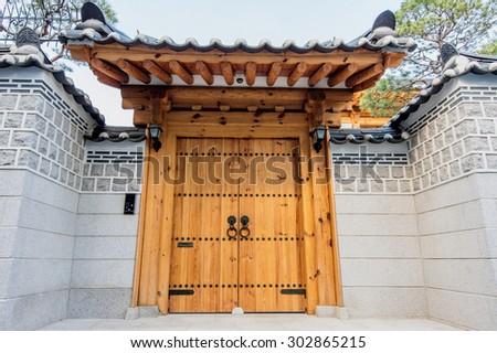 Old antique door in korea - stock photo