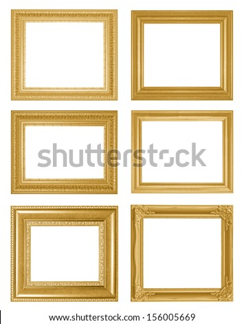 Old Antique  frame Isolated Decorative Carved Wood Stand Antique Frame Isolated On White Background