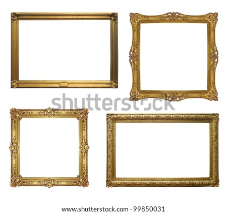 Old antique frame - set of four photos with clipping path - stock photo