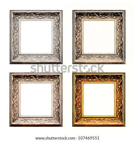 old antique frame set over white background. Gold, silver and bronze. - stock photo