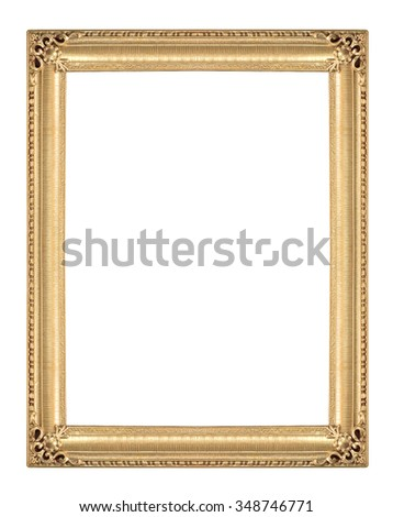 Old Antique gold frame Isolated Decorative Carved Wood Stand Antique Black Frame Isolated On White Background - stock photo