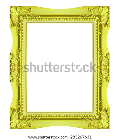 Old Antique Gold frame Isolated Decorative Carved Wood Stand Antique Gold Frame Isolated On White Background - stock photo