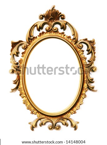 old antique gold frame over white background - stock photo