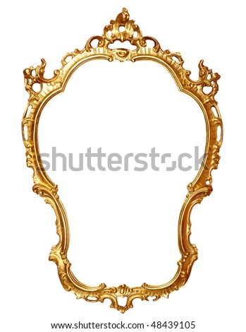 old antique gold frame over white with clipping path - stock photo