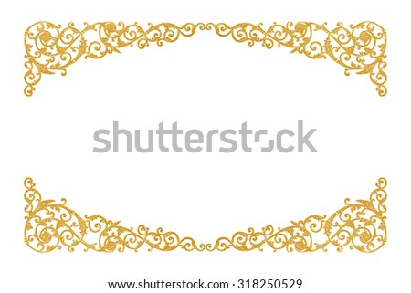 old antique gold frame Stucco walls greek culture roman vintage style pattern line design for border isolated  - stock photo