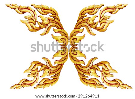 old antique gold frame Wooden doors Thai style pattern isolated on white background. - stock photo