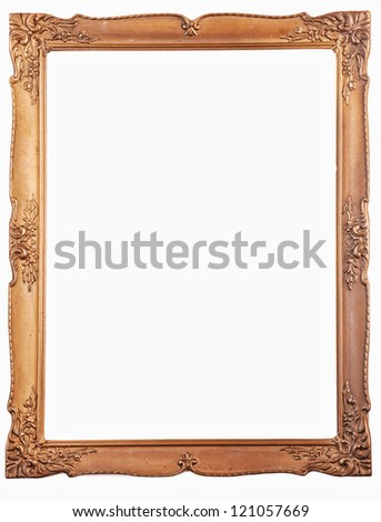 old antique gold picture frame. Isolated over white background