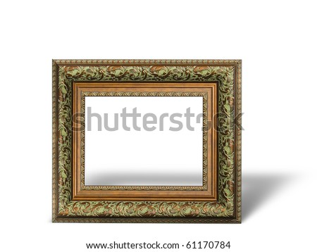 Old antique gold picture frame with a decorative pattern isolated over white background - stock photo