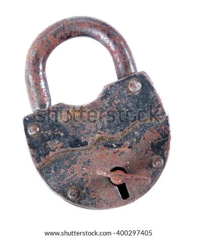old antique metal lock closeup - stock photo