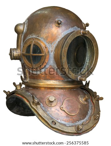Old antique metal scuba helmet isolated on white background - stock photo