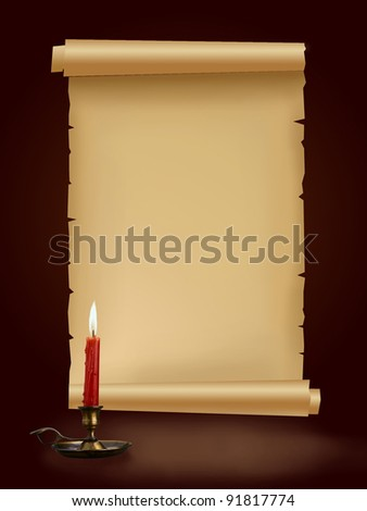 Old antique paper manuscript with candle on brown background