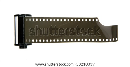 Old antique photo negative strip on white background - stock photo