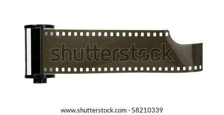 Old antique photo negative strip on white background - stock photo