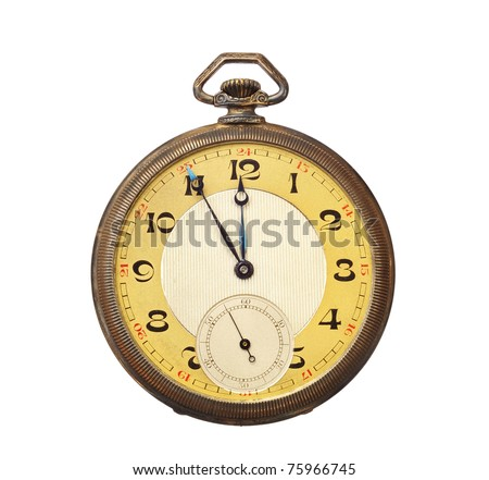 Old antique pocket watch isolated on white background. Clipping path included. - stock photo
