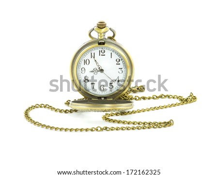 old antique pocket watch on white background - stock photo