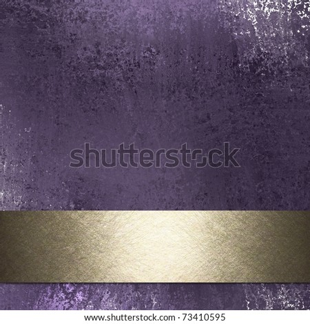 old antique purple background wall with soft faded grunge texture and white sponge effects, lighting, burnished gold ribbon stripe with highlight, and copy space to add your own title, or text - stock photo