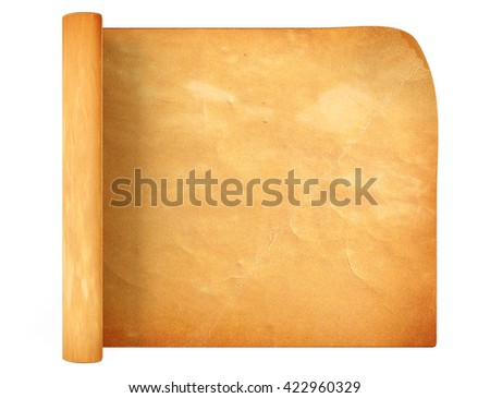 Old antique scroll paper on white background, 3D rendering - stock photo