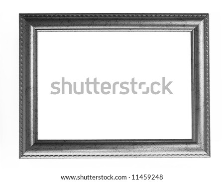 old antique silver frame over white with clipping path - stock photo