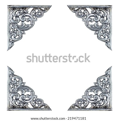 old antique silver frame Thai style pattern isolated on white background - stock photo