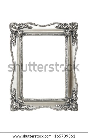 Old antique silver picture frames. Isolated on white background with clipping path. - stock photo