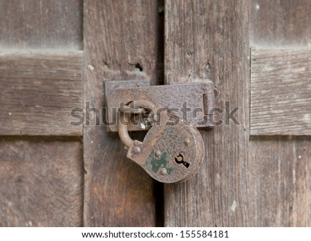 Old antique system of protecting vauluables. - stock photo