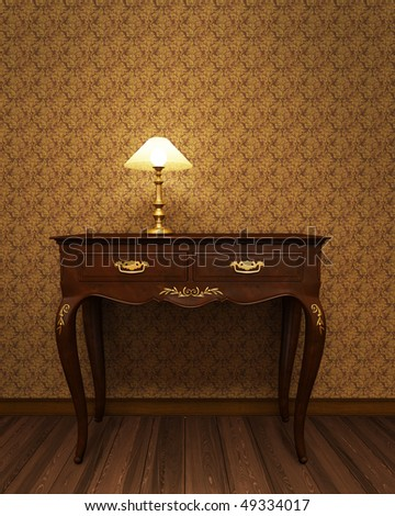 Old antique table from precious wood - stock photo