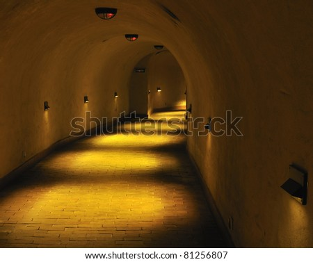 Old, antique tunnel. Lublin in Poland. - stock photo