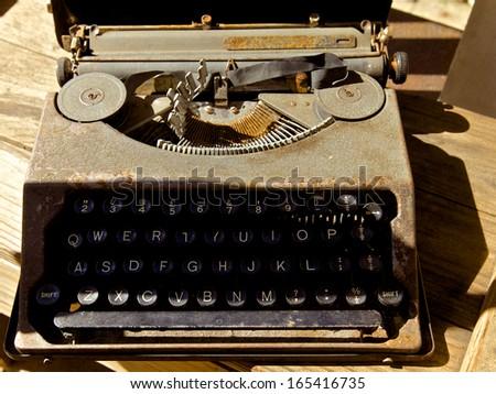 Old antique typewriter - stock photo