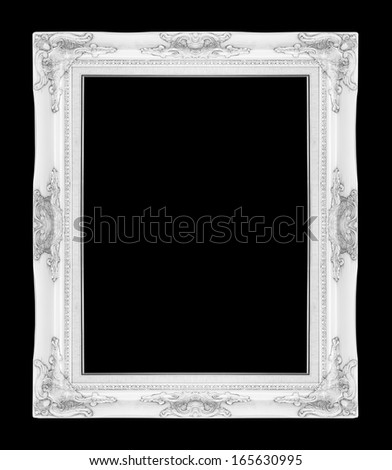 old antique vintage  picture frames. Isolated on black background - stock photo