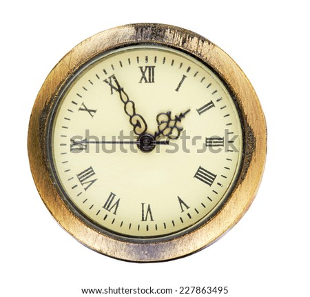 Old antique wall clock isolated on a white background