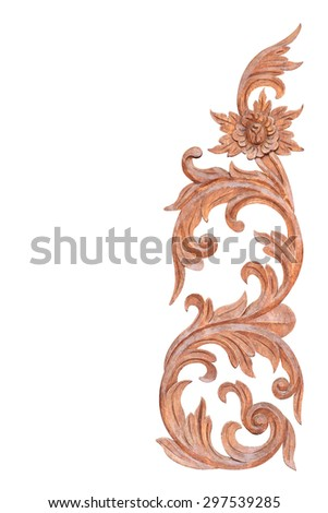Old antique wooden carvings of Thailand to apply the cultural style vintage design stripes isolated on white background with clipping path. - stock photo