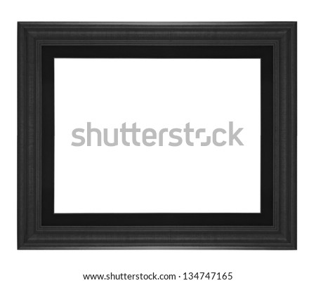 Old antique wooden picture frame black white background. - stock photo