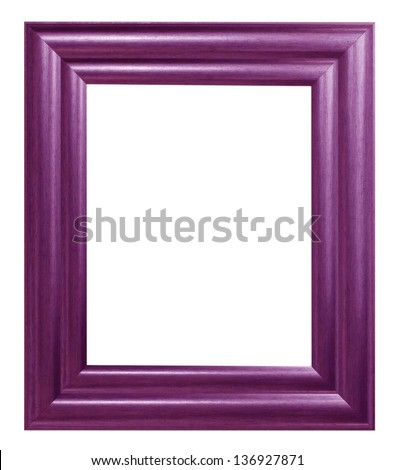 Old antique wooden picture frame Purple white background. - stock photo