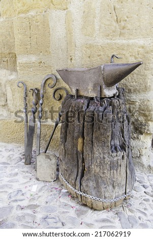 Old anvil smith, metal detail tool for shaping metal - stock photo