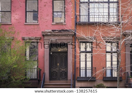 Old apartment building in Greenwich Village, Manhattan, New York City - stock photo