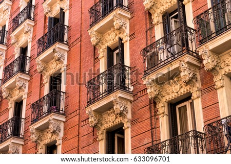 Old Apartment Building with Decorative Balconies in Europe, Spain